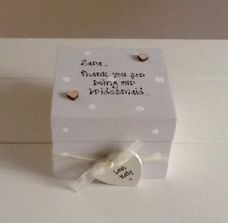 Shabby Personalised Chic Bridesmaid Maid Matron Of Honour Wedding Gift Present